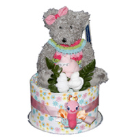 Traditional Teddy Bear Nappy Cake