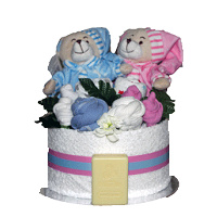 Teddies for Twins Nappy Cake